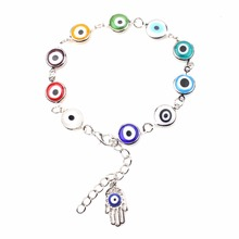 1strand Colorful Turkish Evil Eyes Bracelt Simple Charm Bracelet & Bangle Silver Color Beads Party pulseira masculina(China)