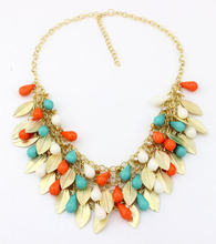 Match-Right 2015 New Women Statement Necklace Link Chain Necklace Bohemia Choker Necklace Bead Leaves pendants Jewelry Trends(China)