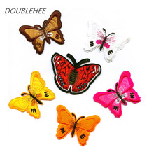 The Butterfly 6 Colors Red Pink Yellow Patch Embroidered Iron On Patches Design Motif T-shirt Bag Shoes Applique Accessories(China)