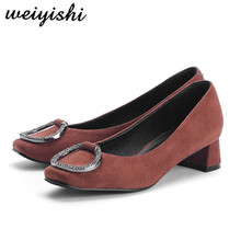 Square Heel Women's Shoes Office Flock Pointed-Toe 3cm-High Pu Weiyishi Pumps Sheepkin