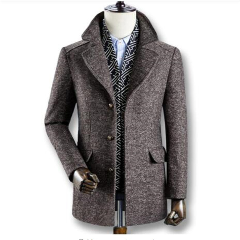 2019 Men Winter Autumn Thick Wool Coats Parkas Male Casual Fashion Slim Fit Large Size Business Dress Coats Blends Men