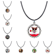 Dog and Rose Photo Choker Necklace White Puppy Pendant Red Flower Jewelry Glass Cabochon Collar Necklaces Gifts for Animal Lover(China)