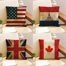 home sofa decorative pillow case Retro French Canada United Kingdom Brazilian American Flag wholesale wedding gift cushion cover