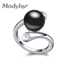 New Fashion Gold-Color High Quality Austrian Crystal simulated pearls Ring Lovey Glory asymmetry simulated pearl Jewelry