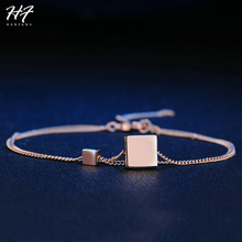 New Arrival Rose Gold Color Retro Simple Two Metal Cubes Chain Bracelet Top Quarity Fashion Jewelry for Women Wholesale H166(China)
