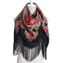 2017 New Cotton Printed Pattern Long Tassel Russian Retro Woman Scarf Winter Oversize Square Blankets Bandana Warm Shawl(China)