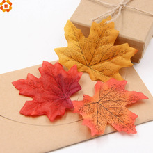 100Pcs/lot Artidicial Silk Maple Leaves Multicolor Fake Fall Leaf For Art Scrapbooking Wedding Party Decoration Craft(China)