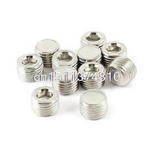 10 Pcs Brass Air Pipe Fittings 1/4 PT Male Thread Hex Socket Plugs Caps