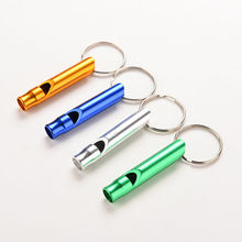 1Pc Random Color Aluminum Emergency Survival Whistle Keychain For Camping Hiking Outdoor Sport Tools(China)