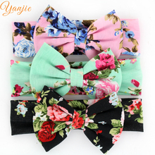 12pcs/lot Trendy Spring/Summer Style Floral Hair Bow Cotton Infantile Headband Hot-sale Elastic Kids Girl DIY Hair Accessories(China)