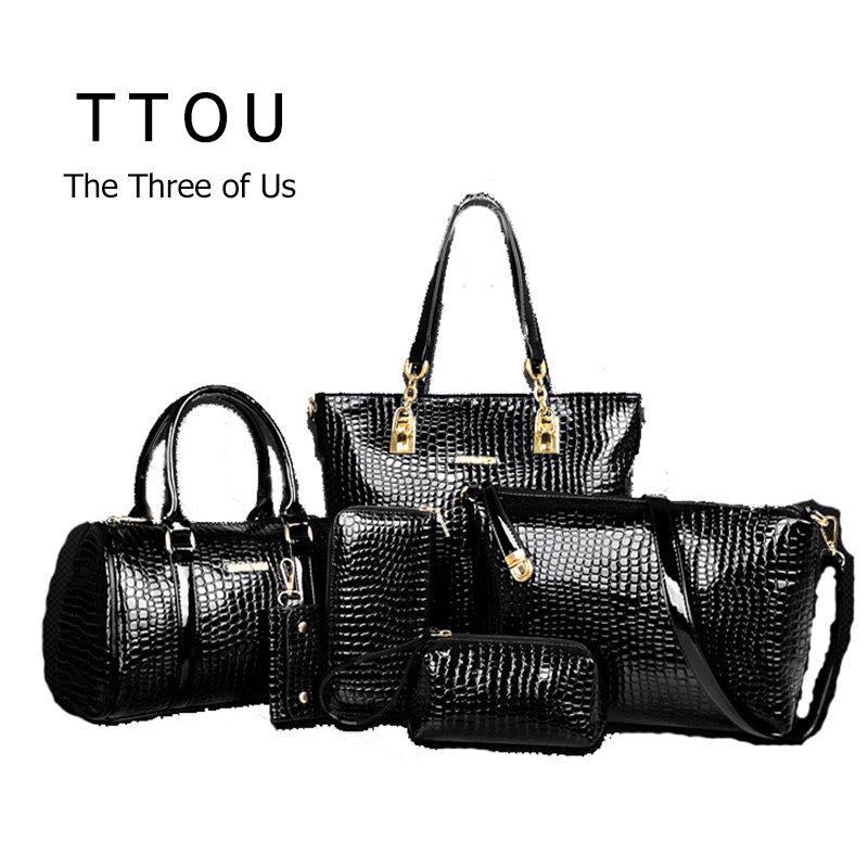 6 Pcs/Set Luxury Bag Handbag Shoulder Bag Tote KeyWallet PU Leather Designed Top-handle Bag For Women Female Messenger Bag TTOU<br><br>Aliexpress