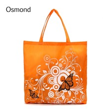 1 PCS Eco Storage Handbags Flower Butterfly Oxford Cloth Foldable Shopping Bags Folding Reusable Organizers Tote Bag 6 Colors