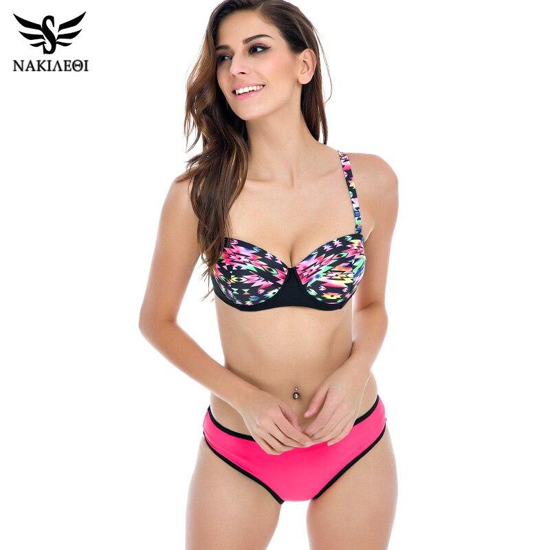 NAKIAEOI 2017 Sexy Bikinis Women Swimsuit Push Up Bikini Set Halter Print Retro Bathing Suits Swim Wear Plus Size Swimwear 2XL<br><br>Aliexpress