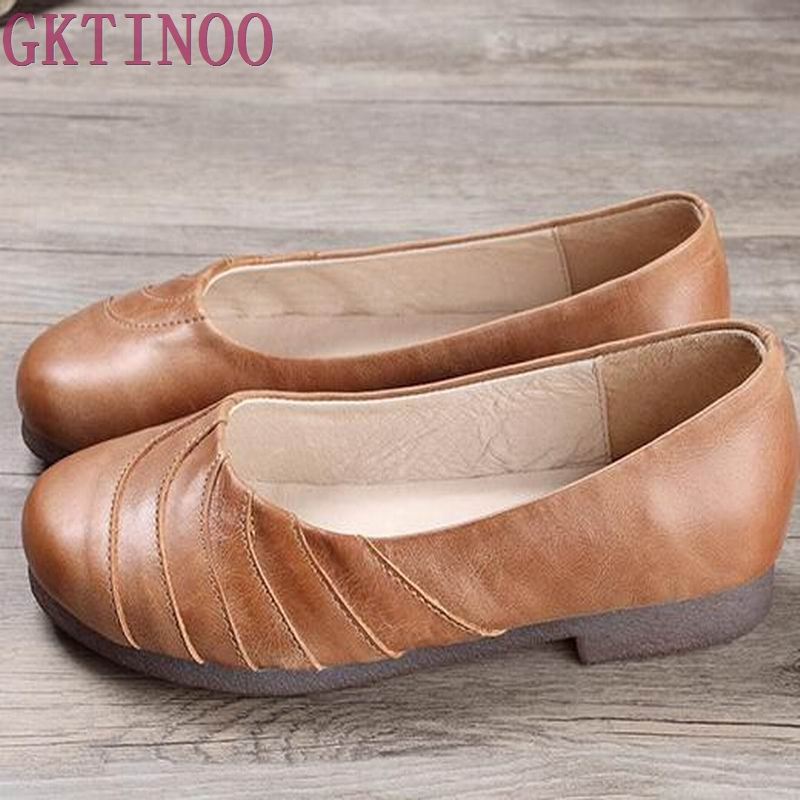 High Quality Women Genuine Leather Shoes Slip On Flats Handmade Shoes Loafers mocassin flat Womens shoes Plus size 35-40<br>