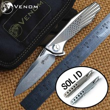 VENOM 4 Wing 2 Kevin John M390 SOLID Titanium Flipper folding knife ceramic ball bearing camping hunting pocket knife EDC tools