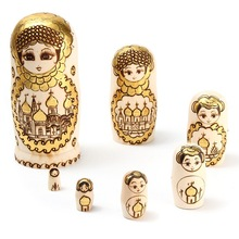 Fashion 7Pcs/set Wooden 7 Tier Hand Painted Stacking Nesting Doll Ornaments Figurines Kids Toy Home Desk Decor Crafts(China)