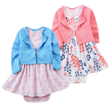 Toddler Infant Baby Girl Clothing Sets Outfits Long Sleeves Shirt Tops Short Sleeve Flower Dresses 2pcs Set Clothes Baby Girls(China)