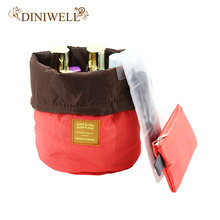 DINIWELL Nylon Barrel Shaped Travel Toiletry Cosmetic Bag Makeup Organizer Storage Bag For Drawstring Elegant Drum(China)