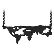 Hot Sale New Fashion World Map Pendant Necklace Personality World Jewelry Lovers BFF Creative Gold Silver Black Special Gift