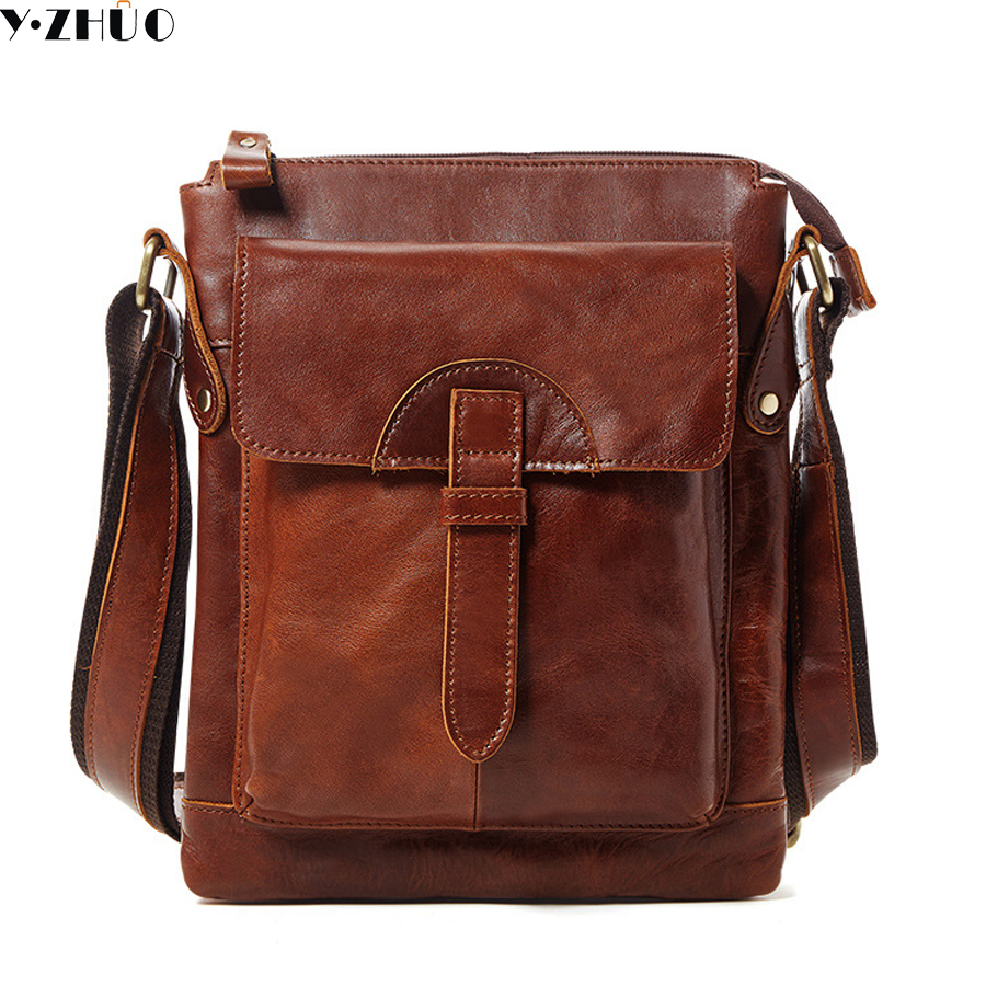 vintage genuine leather men messenger bags business cowhide men crossbody Laptop bags high quality shoulder travel bags<br>