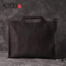 AETOO  Crazy Cow Leather Trendy Handbag Business Young Shoulder File Pack Casual Korean Genuine Leather Leather Bag