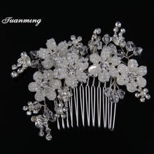 Silver Zinc alloy flower crystal Pearl Women hair combs Plant Rhinestone Metal Wedding hair comb Headdress Bride Hair Ornaments(China)