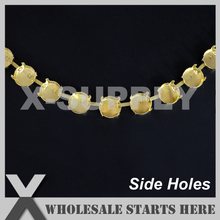 12mm Round Empty Cup Chain,Solid Back Without Rhinestones for Necklace/Shoe/Jewelry/Apparel (Side Connectors/Holes)(China)