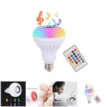110-240V E27 RGB Wireless Bluetooth Speaker Bulb Music Playing Dimmable LED Music Light Lamp Bulb with 24 Keys Remote Control(China)