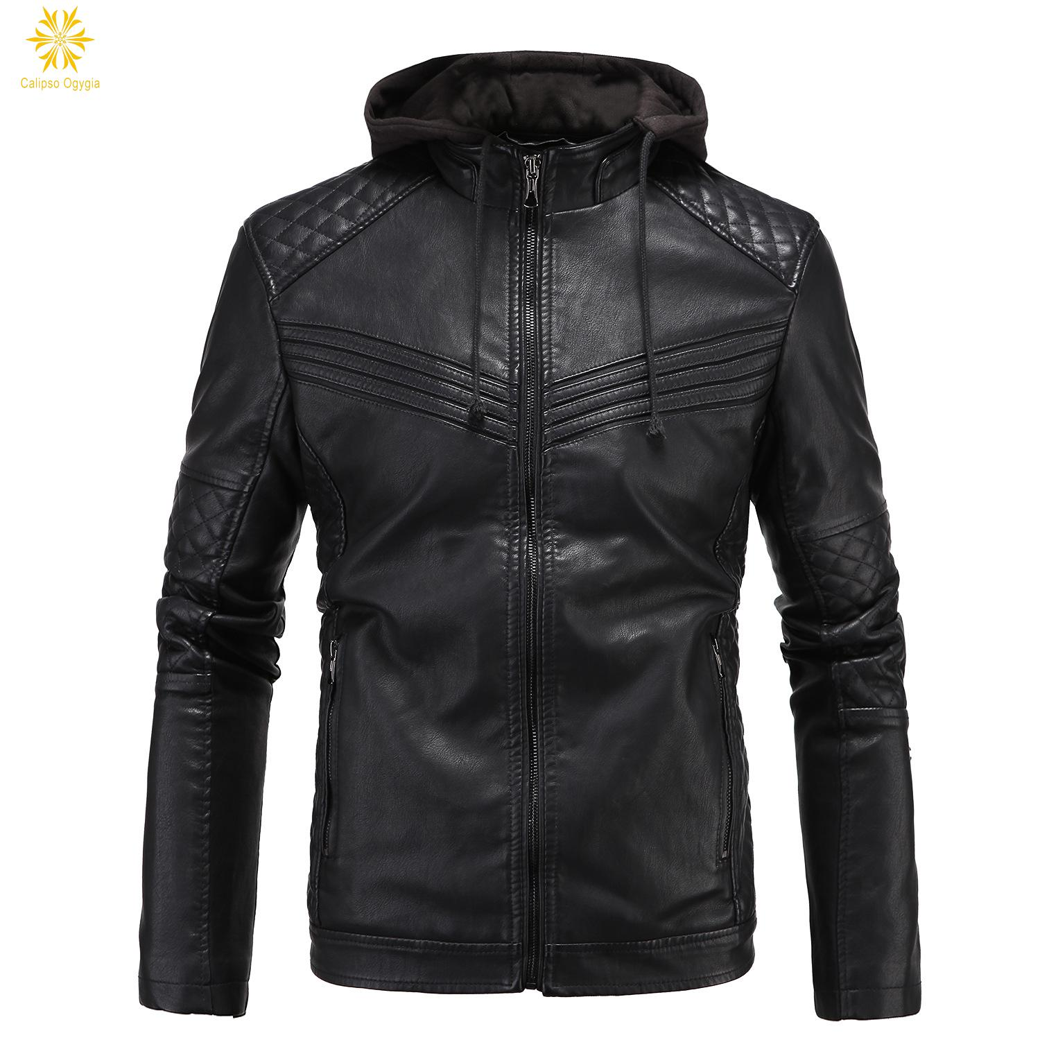 NEW Fashion Men's leather Hoodie Motorcycle Coats Jackets Hooded Washed Leather Coat XL XXL 3XL Blouson Moto Homme