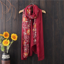 Retro Ethnic Style Embroidered Scarf Cotton Sun Seaside Resort Embroidered Shawl