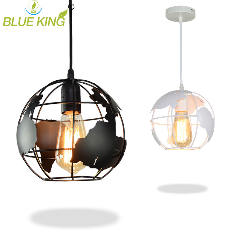 New classical modern global map black,white round cage Living Room Pendant Lamps Restaurant suspension luminaire Home Lighting <br>