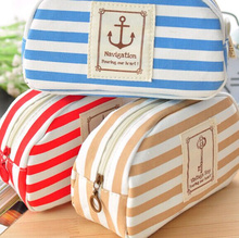 Kawaii BIG Volume 3Colors Navy Stripes HAND Coin BAG 16*10CM Gift BAG Pouch Case ; Women's Makeup Holder BAG Pouch Pocket