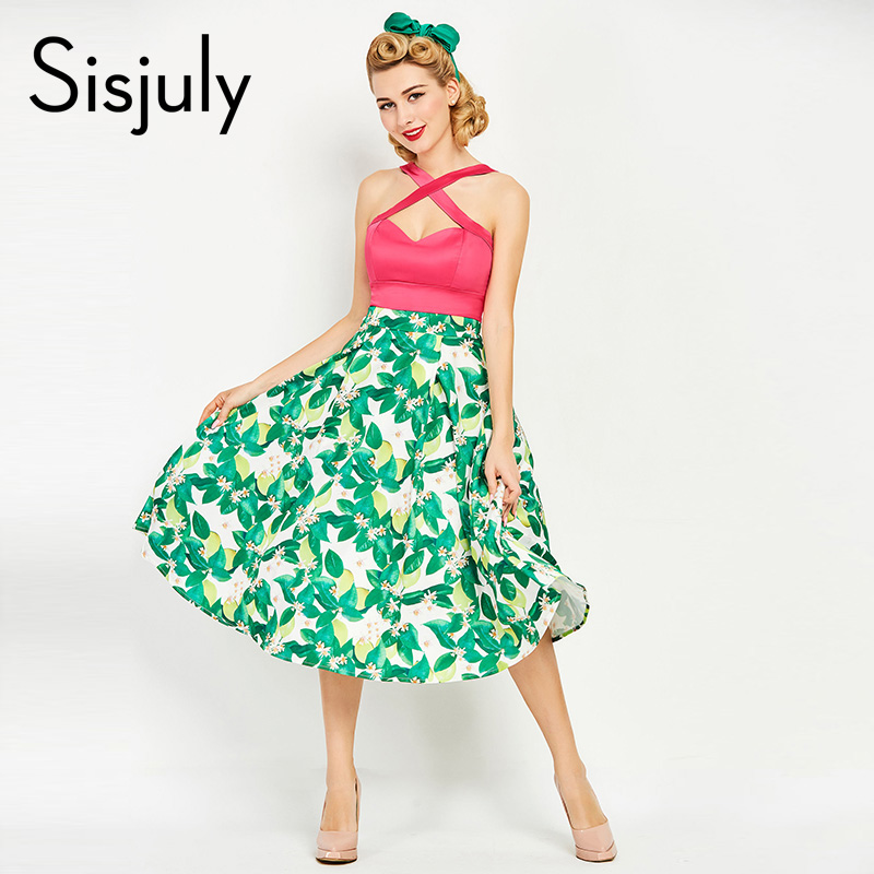 Sisjuly women vintage dress 1950s summer print rockabilly patchwork sexy dress sleeveless female vintage green dresses 2017 new