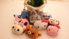 Kawaii Multi- Choice Mini 3cm Totoro , Cat Etc. Plush gift toy , stuffed plush string key chain Toy doll , soft toys for bouquet