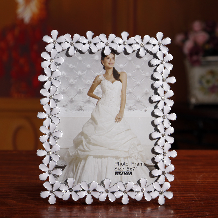 Contracted white lace point 7 inch drill photo frame, wedding gifts ...