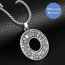 Wholesale 10pcs Men Jewelry Viking Odin's Symbol of Norse Runic Necklace Viking Runes Vegvisir Compass Pendant Scandinavian Gift(China)