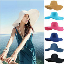 Hot!!!2017 Fashion Summer Women's Ladies' Foldable Wide Large Brim Floppy Beach Hat Sun Straw Hat Cap(China)