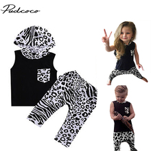 Brand Pudcoco Unisex Summer Clothes Summer Sleeveless Leopard Hoodies+Harem Pants 2PCS Super Hot Casual Suit For Baby Boy Girls