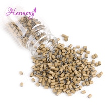 Harmony Plus Hair 1000pcs 3.4*3.0*4mm With silicone Copper tubes links beads for remy human hair extensions tools accessories(China)