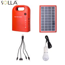 Portable Large Capacity Solar Power Bank Panel 2LED solar lamp USB Cable Battery Charger Emergency Lighting System for camping(China)