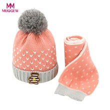 MUQGEW 2Pcs Baby Hat Scarf Fashion Kids Boys Girls Knitted Crochet Beanie Winter Warm Hats Casual Solid Unisex Cap+Neck Scarf(China)
