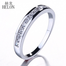 HELON Anniversary Gemstone Band Solid 10K White Gold Real Natural Diamond & Sapphires Jewelry Band Engagement Wedding Fine Ring
