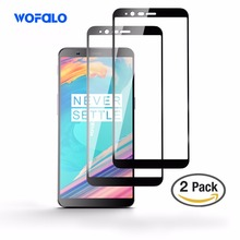 OnePlus 5T Screen Protector, wofalo Full Coverage Curved Tempered Glass Screen Protector Film for OnePlus 5T Black 2 Pack(China)