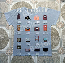 Track Ship+New Vintage Retro T-shirt Top Tee The Evolution of Television TV Set in Family 0663(Hong Kong,China)