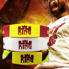 1PC LEBRON JAMES silicone wristband Basketball player rubber bracelets with 3 colors Glow in the dark silicone bangle