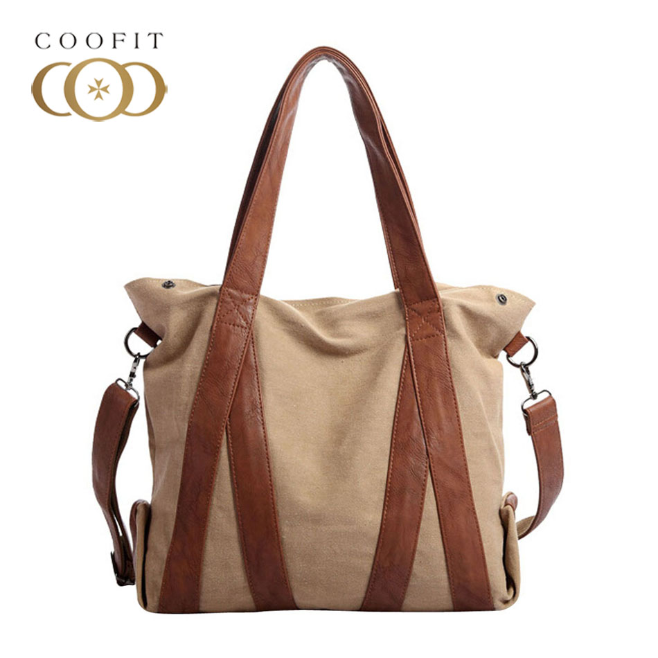 Coofit Vintage Leather Canvas Handbag School Bags Womens Retro Washed Canvas Large Capacity Crossbody Shoulder Bag Travel Bag<br>
