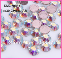 Free Shipping! 288pcs/Lot, ss30 (6.3-6.5mm) High Quality DMC Crystal AB Iron On Rhinestones / Hot fix Rhinestones