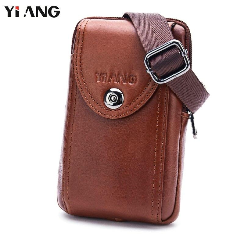 YIANG Genuine Leather Single Crossbody Bags Men Casual Messenger Bag Waist Packs Belt Bag Phone Pouch Shoulder Bag 6 Styles<br>