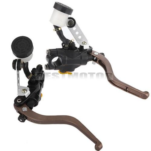 Pair 7/8 inch Motorcycle Brake Clutch Lever Master Cylinder Hydraulic Hand Grip<br>