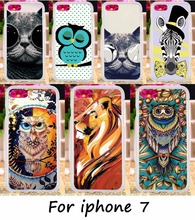 DIY Painted Phone Back Cover For Apple iPhone 7 iphone7 4.7inch Cases Plastic & TPU Cute Owl Cat Dog Tiger Telephone Accessories